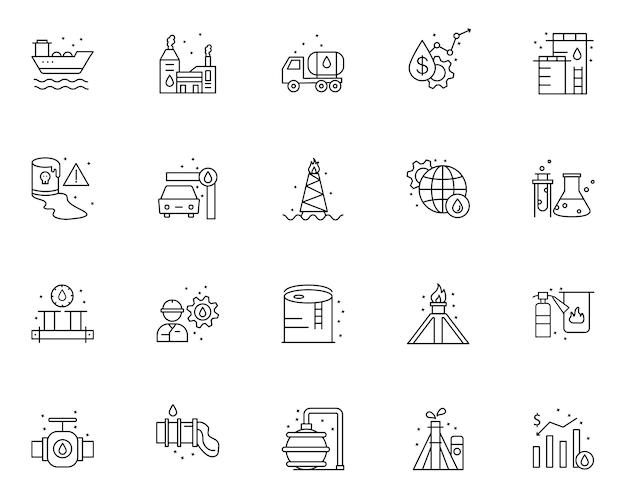 Ensemble simple d'icônes liées aux éléments d'huile dans le style de ligne