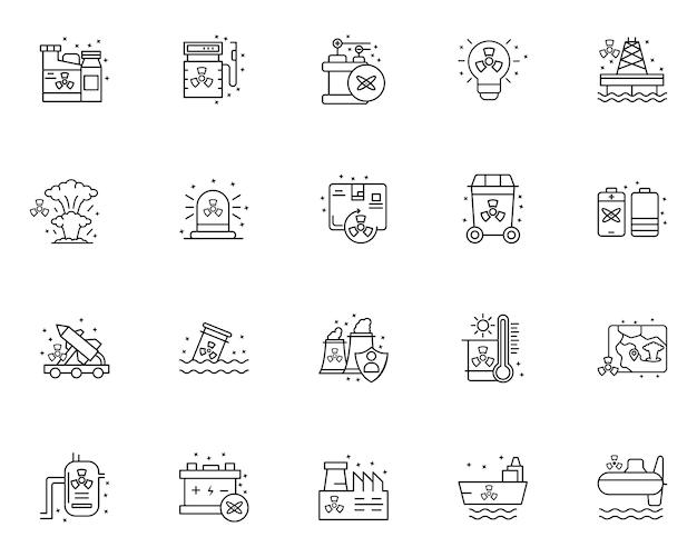 Ensemble simple d'icônes liées aux éléments nucléaires dans le style de ligne
