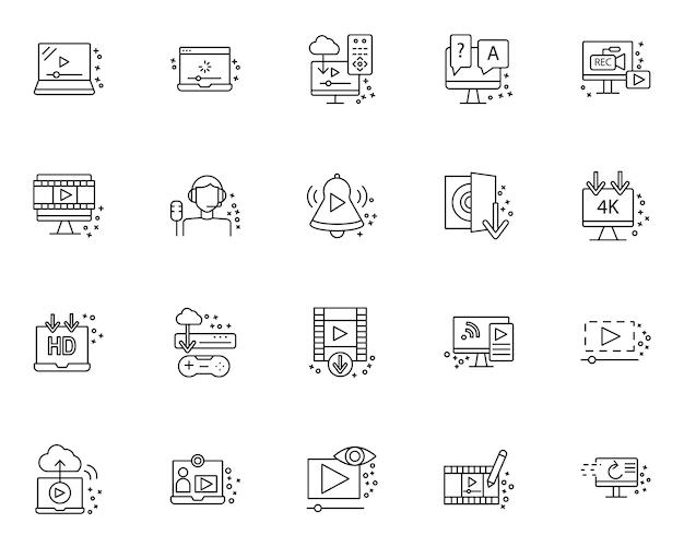 Ensemble simple d'icônes liées aux éléments de streaming dans le style de ligne