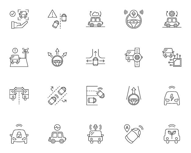 Ensemble simple d'icônes liées aux voitures intelligentes dans le style de ligne
