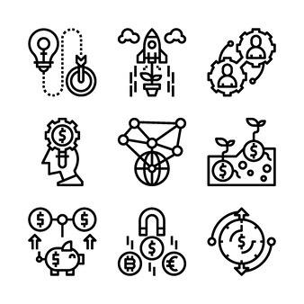 Ensemble simple d'icônes de lignes connexes marketing.