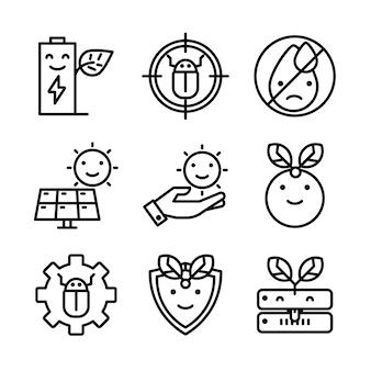 Ensemble simple d'icônes de lignes vectorielles connexes eco.