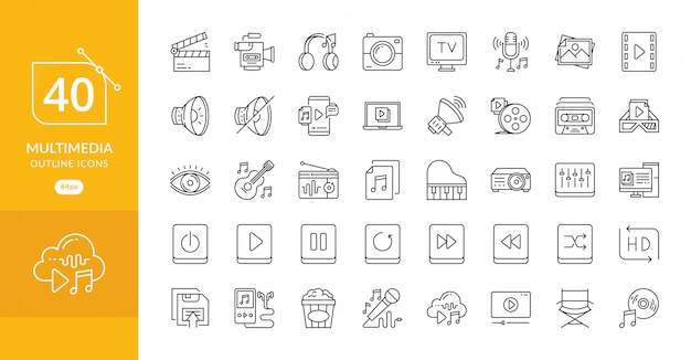 Ensemble simple d'icônes de lignes vectorielles connexes multimédia
