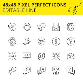 Ensemble simple d'icônes pour le support technique et l'assistance 24/7. obtenez la réponse à tout moment ou consultez le spécialiste de notre centre d'appels. contient des icônes telles que combiné, aide, opérateur, casque.