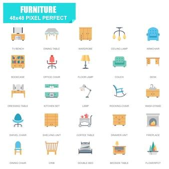 Ensemble simple de meubles associés icônes plat vector