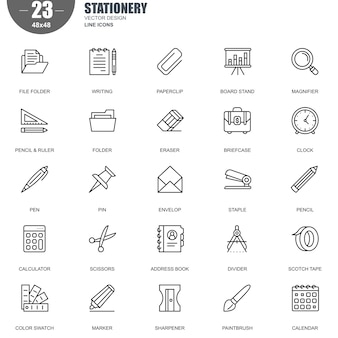 Ensemble simple de papeterie connexes vector line icons