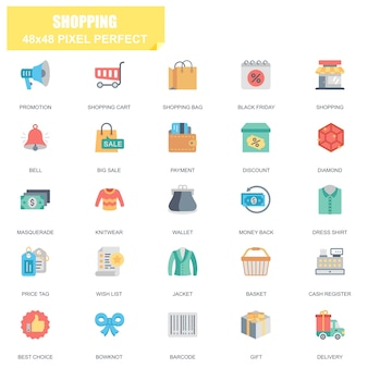 Ensemble simple de shopping connexes icônes plat vector