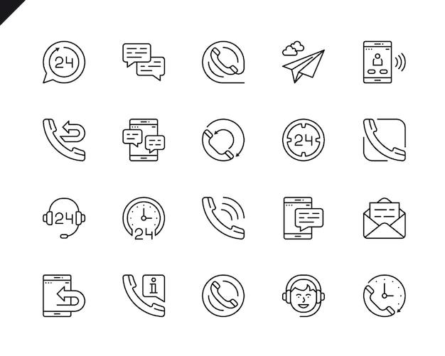 Ensemble simple de traitement icônes de lignes vectorielles associées.