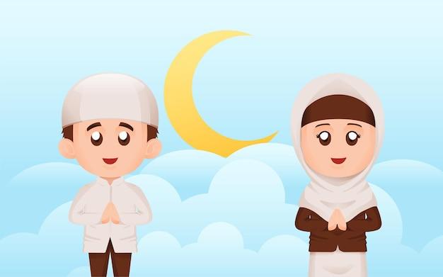 Ensemble de simples enfants musulmans ou musulmans mignons garçon et fille sourire et agitant la main avec le concept d'illustration de bulle de discours