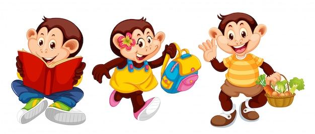 Ensemble de singes dans des poses humaines