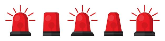 Ensemble de sirène clignotante rouge dans un design plat