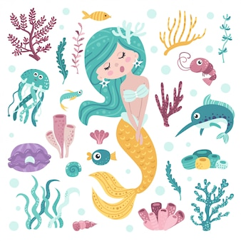Ensemble de sirène mignonne, algues et habitants de la mer