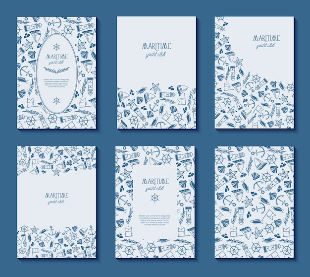 Ensemble de six affiches de club de yacht maritime avec différents cadres