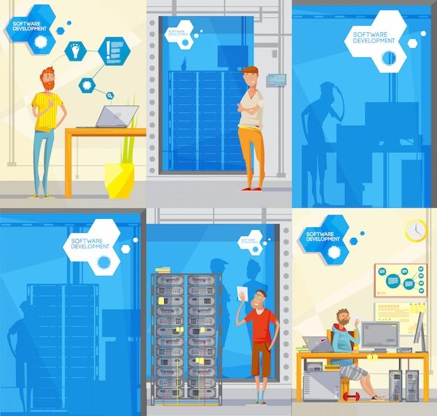 Ensemble de six affiches de fabrication de style doodle avec des silhouettes de personnages employés différents