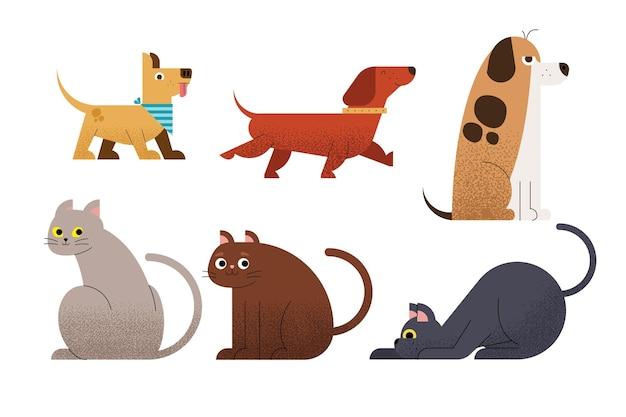 Ensemble de six animaux domestiques