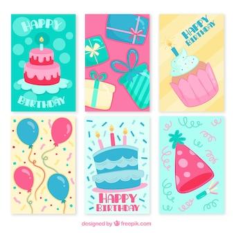 Ensemble de six cartes d'anniversaire dessinées à la main