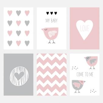 L'ensemble de six cartes postales mignonnes avec un birdie.