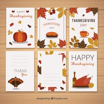 Ensemble de six cartes rétro de thanksgiving