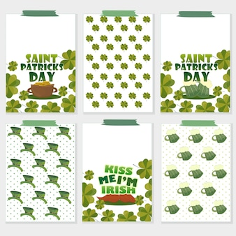 Ensemble de six cartes de la saint-patrick avec verres à bière, trèfle, pot d'or, chapeau, moustache. parfait pour les salutations de vacances, les impressions, les pancartes