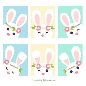 Ensemble de six cartes de voeux avec le lapin de pâques mignon design plat
