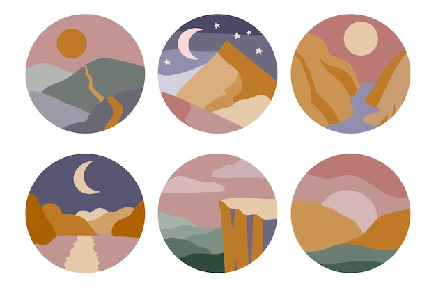 Ensemble de six couvertures de faits saillants pour les médias sociaux abstraits paysages colorés minimaux