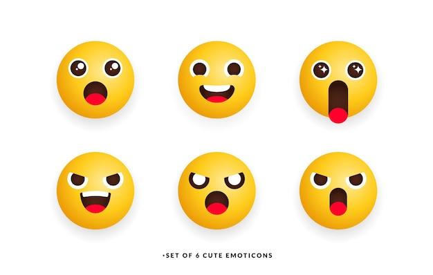 Ensemble de six émoticônes mignonnes avec un sentiment différent