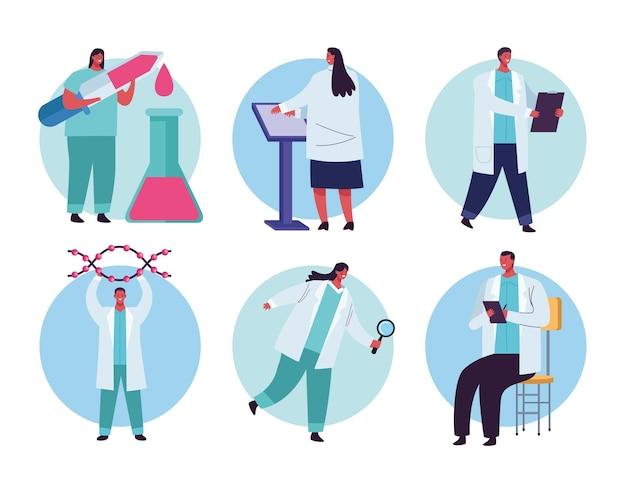 Ensemble de six employés pour les tests génétiques