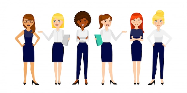 Ensemble de six femmes d'affaires souriant différentes
