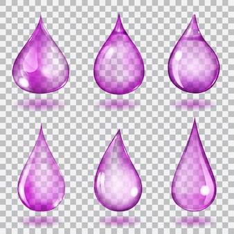 Ensemble de six gouttes transparentes de différentes formes aux couleurs violettes