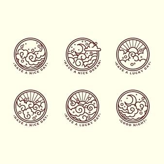 Ensemble de six illustrations de contour liées au ciel différentes