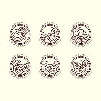Ensemble de six illustrations de contour liées à la mer et aux vagues différentes