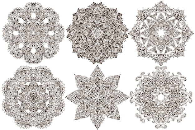 Ensemble de six mandala abstrait