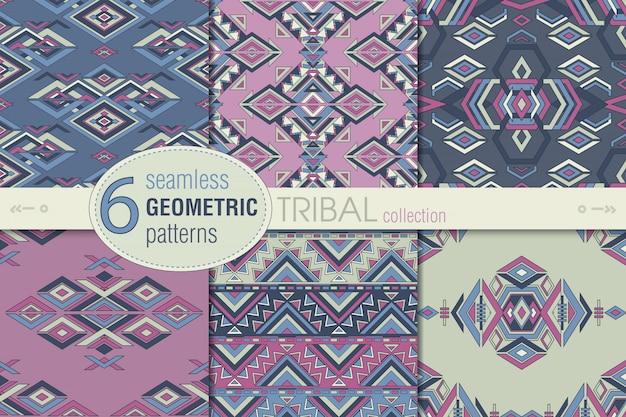 Ensemble de six modèles ethniques sans soudure. arrière-plans sans fin géométriques.