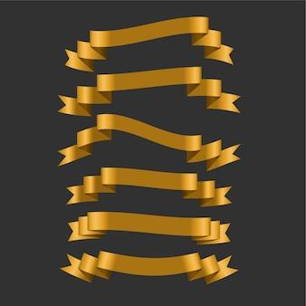 Ensemble de six rubans dorés 3d