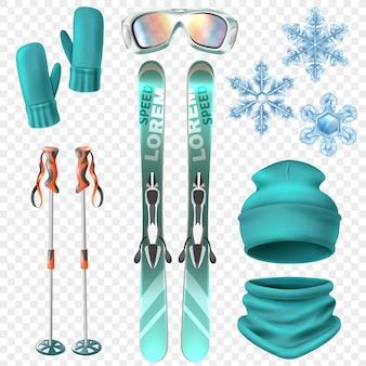 Ensemble De Ski D'hiver Vecteur gratuit