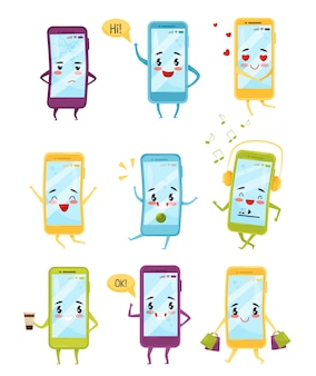 Ensemble de smartphones avec différentes émotions. personnages de dessins animés avec des visages kawaii. technologie moderne