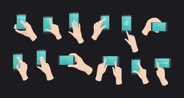 Ensemble de smartphones à main humaine. communication mobile gesticulant l'écran tactile du téléphone