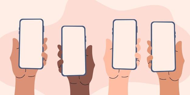Ensemble de smartphones numériques que les gens tiennent dans leurs mains avec un espace vide pour le contenu des médias sociaux dans l'écran du téléphone