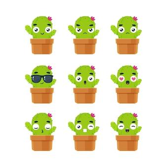 L'ensemble smiley de la plante cactus. illustration vectorielle isolée