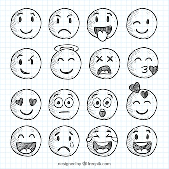 Ensemble de smileys croquis