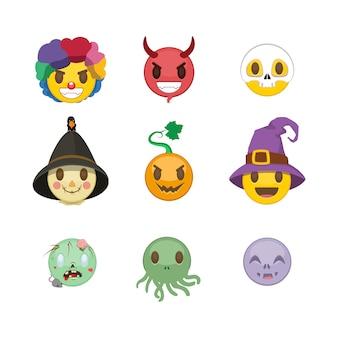 Ensemble de smileys d'halloween