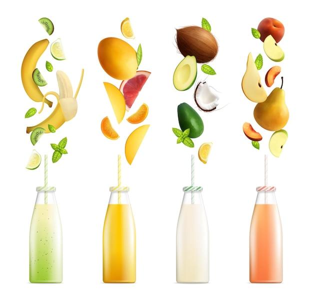 Ensemble de smoothies aux fruits de cocktails de fruits réalistes avec des bouteilles colorées et des tranches sur blanc isolé