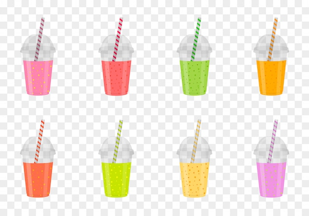 Ensemble de smoothies aux fruits dans des verres en plastique. jus frais et sain. menu boissons.