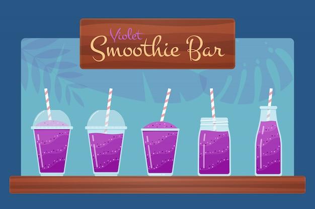 Ensemble de smoothies aux vitamines naturelles violettes