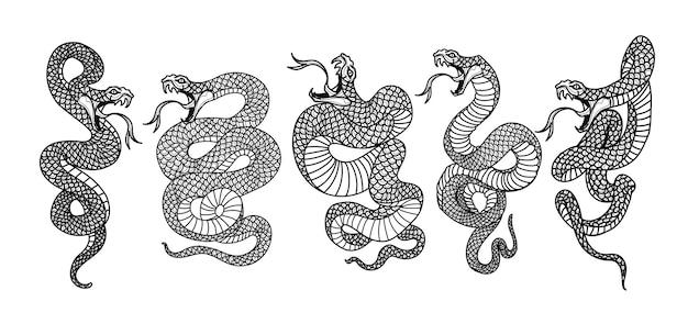 Ensemble de snak d'art de tatouage dessin et croquis noir et blanc