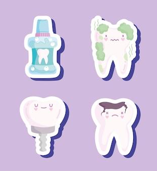 Ensemble de soins dentaires kawaii