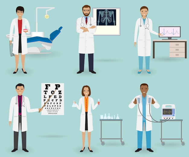 Ensemble de soins médicaux avec des médecins de différentes spécialités. occupation du personnel médical. groupe d'employé de l'hôpital.