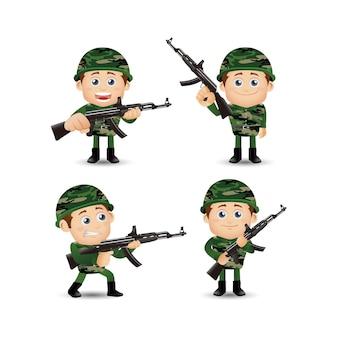 Ensemble De Soldats De L'armée En Uniforme Avec Action De Différence Vecteur Premium