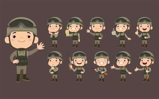 Ensemble de soldats de l'armée en uniforme avec action de différence
