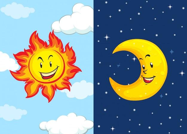 Ensemble de soleil et de lune